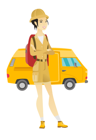 asian family: Traveler standing on the background of minibus.