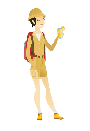Asian traveler woman drinking cocktail.