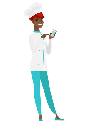 woman cellphone: African-american chef cook holding a mobile phone.