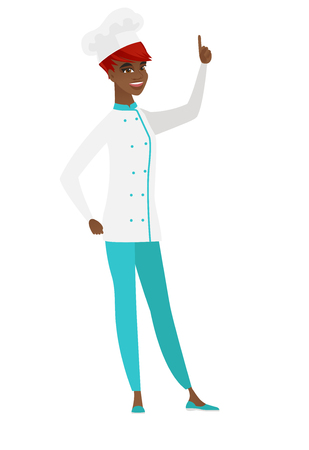 Excited chef cook in uniform pointing with her finger. Full length of chef cook pointing her finger up. Chef cook with finger pointing up. Vector flat design illustration isolated on white background. Illustration
