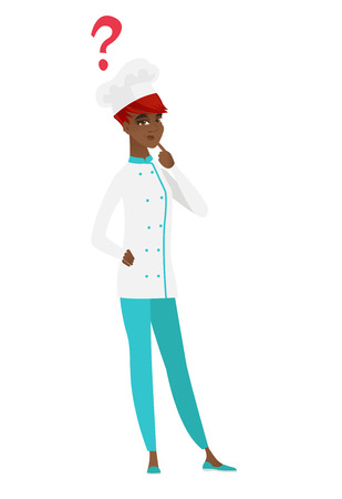 African thinking chef cook with question mark. Thoughtful chef cook with question mark..
