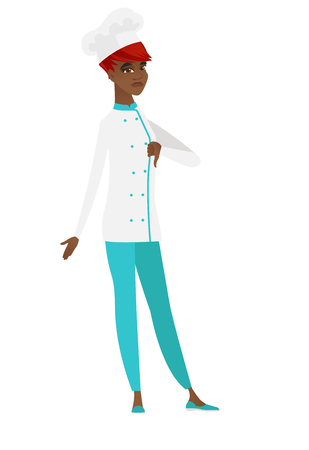 Disappointed african-american chef cook with thumb down. Full length of chef cook showing thumb down. Young chef cook with her thumb down. Vector flat design illustration isolated on white background. Illustration