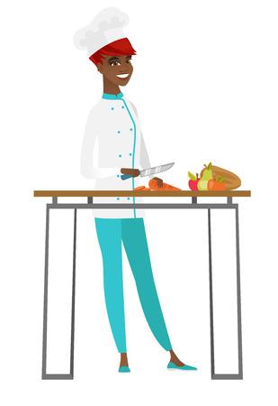 Chef cook cooking healthy vegetable salad. 일러스트