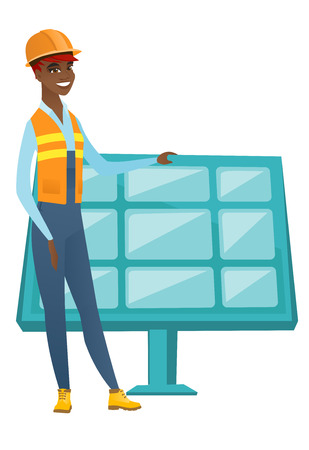 Young african worker of solar power plant. Ilustração