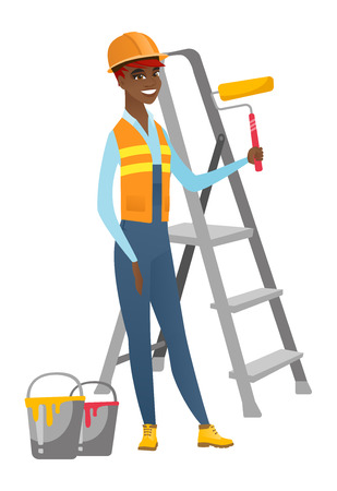 house painter: African-american house painter in uniform holding paint roller in hands. Smiling house painter standing near step-ladder and paint cans. Vector flat design illustration isolated on white background.