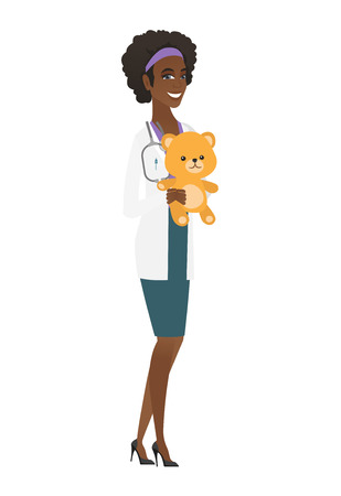 African-american pediatrician doctor holding a teddy bear. Illustration