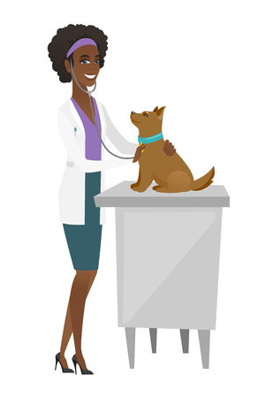 African veterinarian examining dog in hospital. Veterinarian checking heartbeat of a dog. Illustration