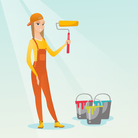 Caucasian female painter in uniform holding paint roller in hands. Young cheerful house painter at work. Smiling female painter standing near paint cans. Vector flat design illustration. Square layout Illustration