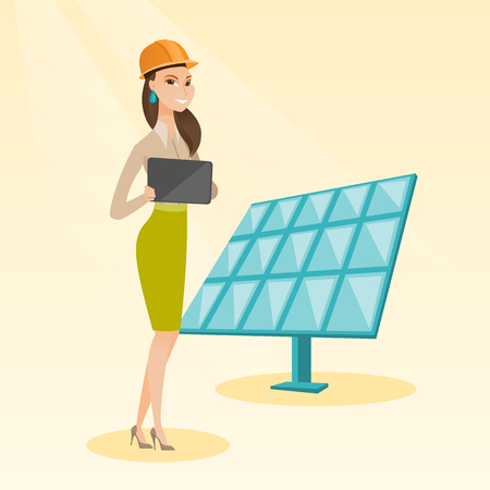 checking: Female worker of solar power plant. Illustration
