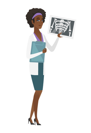 African doctor examining a radiograph. Young doctor in medical gown looking at a chest radiograph. Doctor observing a skeleton radiograph. Vector flat design illustration isolated on white background.
