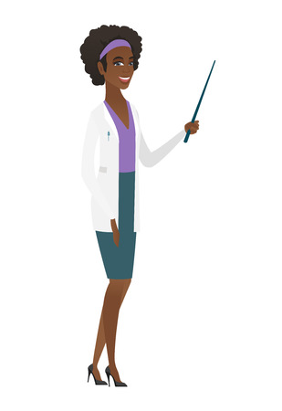 African doctor in medical gown holding pointer stick. Full length of young doctor with pointer stick. Doctor pointing with pointer stick. Vector flat design illustration isolated on white background.