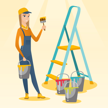 Caucasian house painter holding paintbrush. House painter with paintbrush in hand standing near step-ladder and paint cans. Concept of house renovation. Vector flat design illustration. Square layout.