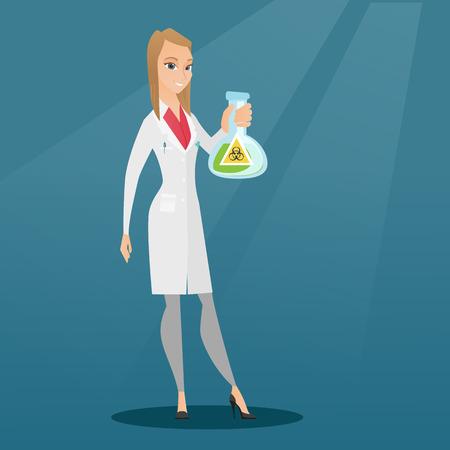 biohazard: Scientist holding flask with biohazard sign. Illustration
