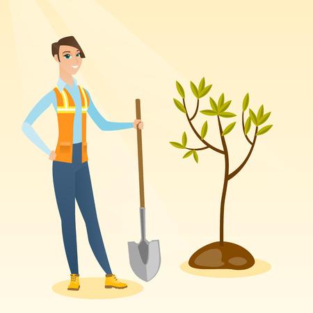Woman plants tree vector illustration. Illustration