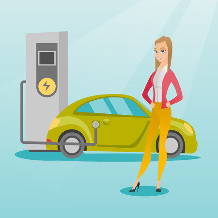 Charging of electric car vector illustration. Illustration