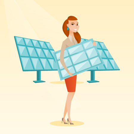 Woman holding solar panel vector illustration.
