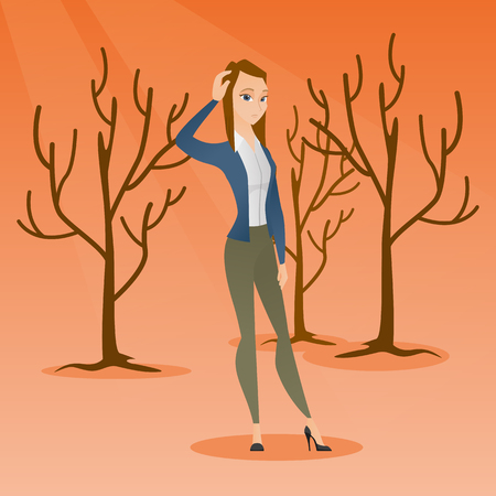 hot woman: Forest destroyed by fire or global warming.