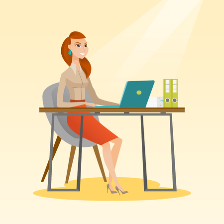 electronic book: Student sitting at the table with laptop. Student using laptop for education. Woman working on laptop and writing notes. Educational technology concept. Vector flat design illustration. Square layout.