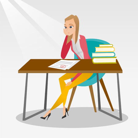 Caucasian student disappointed by test with F grade. Sad young student looking at test paper with bad mark. Student dissatisfied with the test results. Vector flat design illustration. Square layout.
