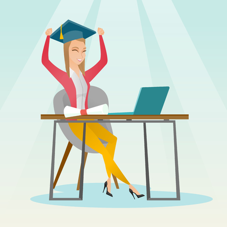 electronic book: Caucasian female graduate sitting at the table with laptop and diploma. Graduate in graduation cap using laptop for education. Online graduation concept. Vector flat design illustration. Square layout
