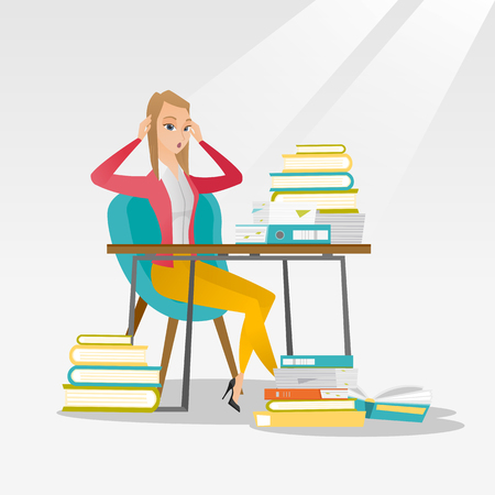 overwhelmed: Caucasian female student studying hard before exam. Young stressed student studying with textbooks. Desperate female student studying in the library. Vector flat design illustration. Square layout.