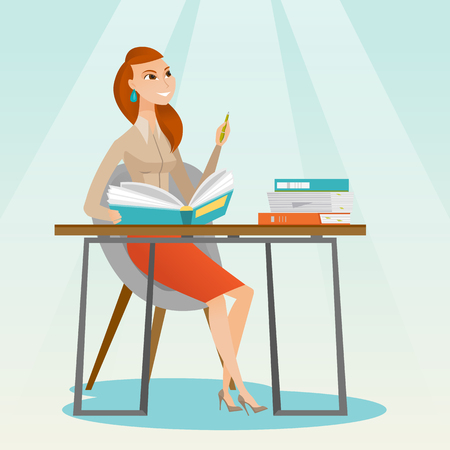 Young caucasian female student sitting at the table and thinking. Thinking student writing in exercise book. Thinking female student doing homework. Vector flat design illustration. Square layout.