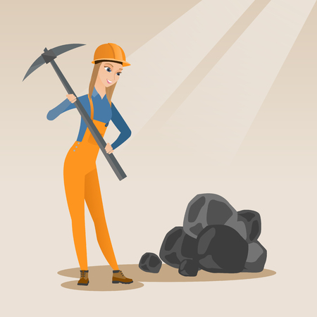 Caucasian female miner in hard hat working with a pickaxe. Female miner in helmet working at the coal mine. Young female miner at work. Vector flat design illustration. Square layout. Çizim
