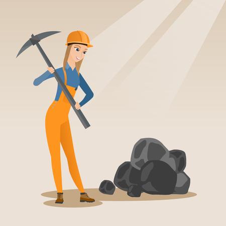 Caucasien femelle mineur portant un casque travaillant avec une pioche. Mineuse en casque travaillant à la mine de charbon. Jeune femme mineur au travail. Illustration vectorielle design plat Disposition carrée. Vecteurs
