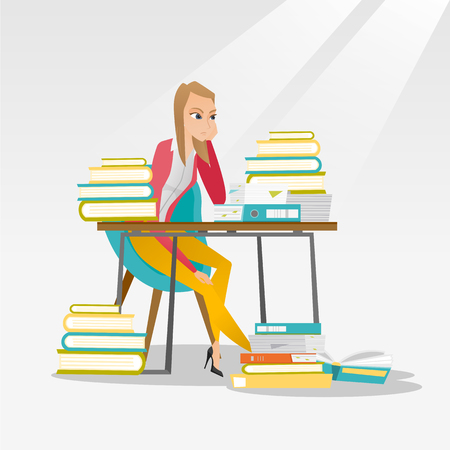 Caucasian annoyed student studying hard before the exam. Young angry student studying with textbooks. Bored female student studying in the library. Vector flat design illustration. Square layout.