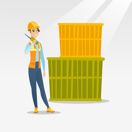 docker: Caucasian port worker in hard hat talking on wireless radio. Port worker standing on cargo containers background. Port worker using wireless radio. Vector flat design illustration. Square layout.