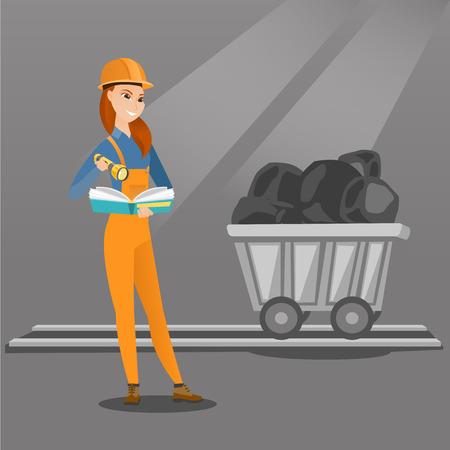 La minera caucásico comprobación de documentos con la linterna en el fondo del carro con el carbón. Trabajador de mina en el sombrero duro. La minera femenina en la mina de carbón. Vector de diseño plano ilustración. de planta cuadrada.