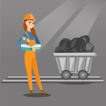 Caucasian miner checking documents with the flashlight on the background of trolley with coal. Mine worker in hard hat. Female miner in the coal mine. Vector flat design illustration. Square layout. Illustration