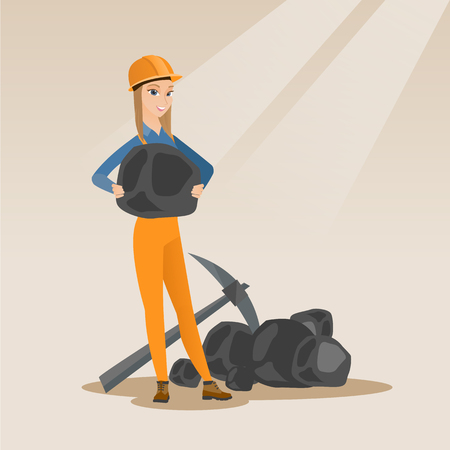 Caucasian female miner in hard hat holding coal in hands. Female miner with a pickaxe. Miner working at coal mine. Young happy female miner at work. Vector flat design illustration. Square layout.