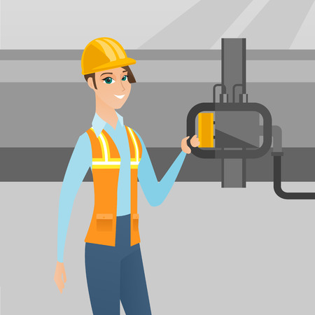 Caucasian operator of oil refinery plant checking detector on pipeline. Worker standing on the background of pipeline. Technician maintaining pipeline. Vector flat design illustration. Square layout. 向量圖像
