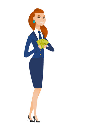 flight crew: Caucasian stewardess holding money. Excited stewardess standing with money in hands. Full length of young smiling stewardess with money. Vector flat design illustration isolated on white background.