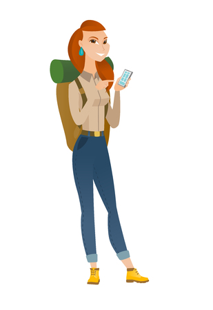 Caucasian traveler holding mobile phone and pointing at it. Full length of traveler with mobile phone. Traveler woman using mobile phone. Vector flat design illustration isolated on white background. Illustration