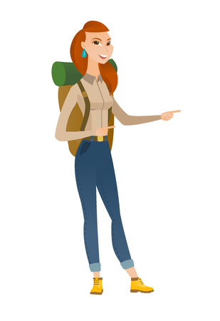 Young caucasian traveler pointing to the side. Cheerful traveler pointing her finger to the side. Traveler pointing to the right side. Vector flat design illustration isolated on white background.