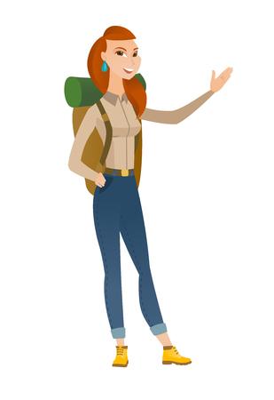 adventurer: Smiling caucasian traveler woman showing a direction. Full length of traveler pointing at something and showing a direction by her hand. Vector flat design illustration isolated on white background. Illustration
