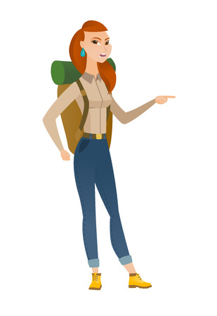 woman hiking: Furious traveler screaming and pointing her finger to the right. Full length of aggressive traveler screaming and shaking her finger. Vector flat design illustration isolated on white background.
