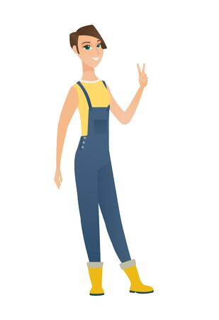 Caucasian farmer in coveralls showing the victory gesture. Farmer showing the victory sign with two fingers. Farmer with victory gesture. Vector flat design illustration isolated on white background.