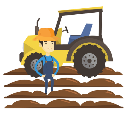 Asian farmer in summer hat standing on the background of tractor preparing land. Young farmer standing in the field in front of tractor. Vector flat design illustration isolated on white background.