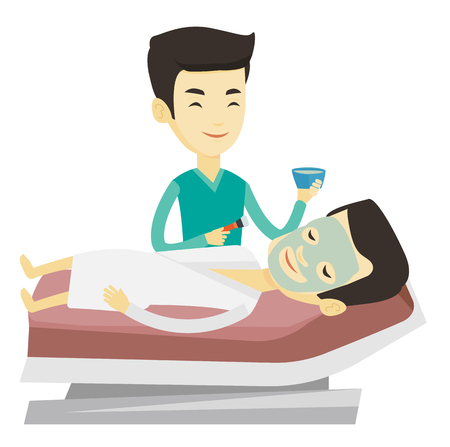 health resort: Asian cosmetologist applying mask on face of client in beauty salon. Man lying on the table in beauty salon during cosmetology procedure. Vector flat design illustration isolated on white background. Illustration
