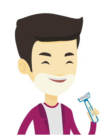 preparations: Man shaving his face. Man with shaving cream on his face and razor in hand. Man prepping face for daily shaving. Concept of daily hygiene. Vector flat design illustration isolated on white background. Illustration