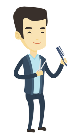 Full length of young smiling asian barber holding comb and scissors in hands. Professional happy barber ready to do a haircut. Vector flat design illustration isolated on white background.
