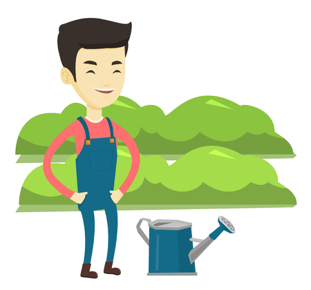 Asian farmer standing near watering can on the background of agricultural field with green bushes. Young farmer watering plants in garden. Vector flat design illustration isolated on white background.