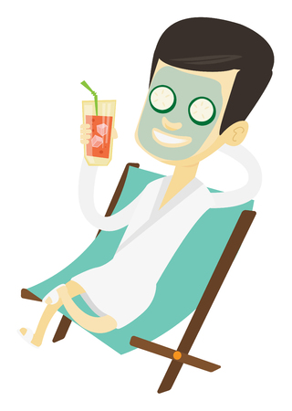 Man with face mask and towel on head lying in chaise lounge in beauty salon. Man relaxing in beauty salon. Man having beauty treatments. Vector flat design illustration isolated on white background.