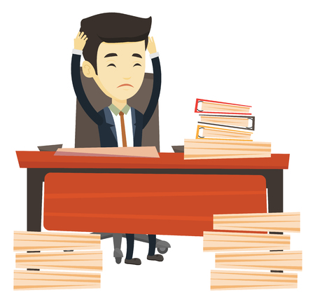 overload: Asian bsiness man in despair sitting at workplace in office with heaps of papers. Business man sitting at the desk with stacks of papers. Vector flat design illustration isolated on white background.