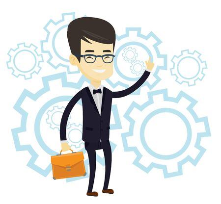 came: Asian man pointing finger up because he came up with business idea. Man having creative business idea. Successful business idea concept. Vector flat design illustration isolated on white background.