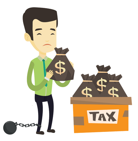 Chained to a ball asian taxpayer standing near bags with taxes. Taxpayer holding bag with dollar sign. Concept of tax time and taxpayer. Vector flat design illustration isolated on white background.  イラスト・ベクター素材
