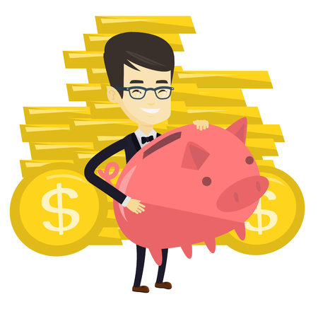 Asian business man with a piggy bank. Successful business man holding big pink piggy bank. Young business man saving money in piggy bank. Vector flat design illustration isolated on white background. Illustration